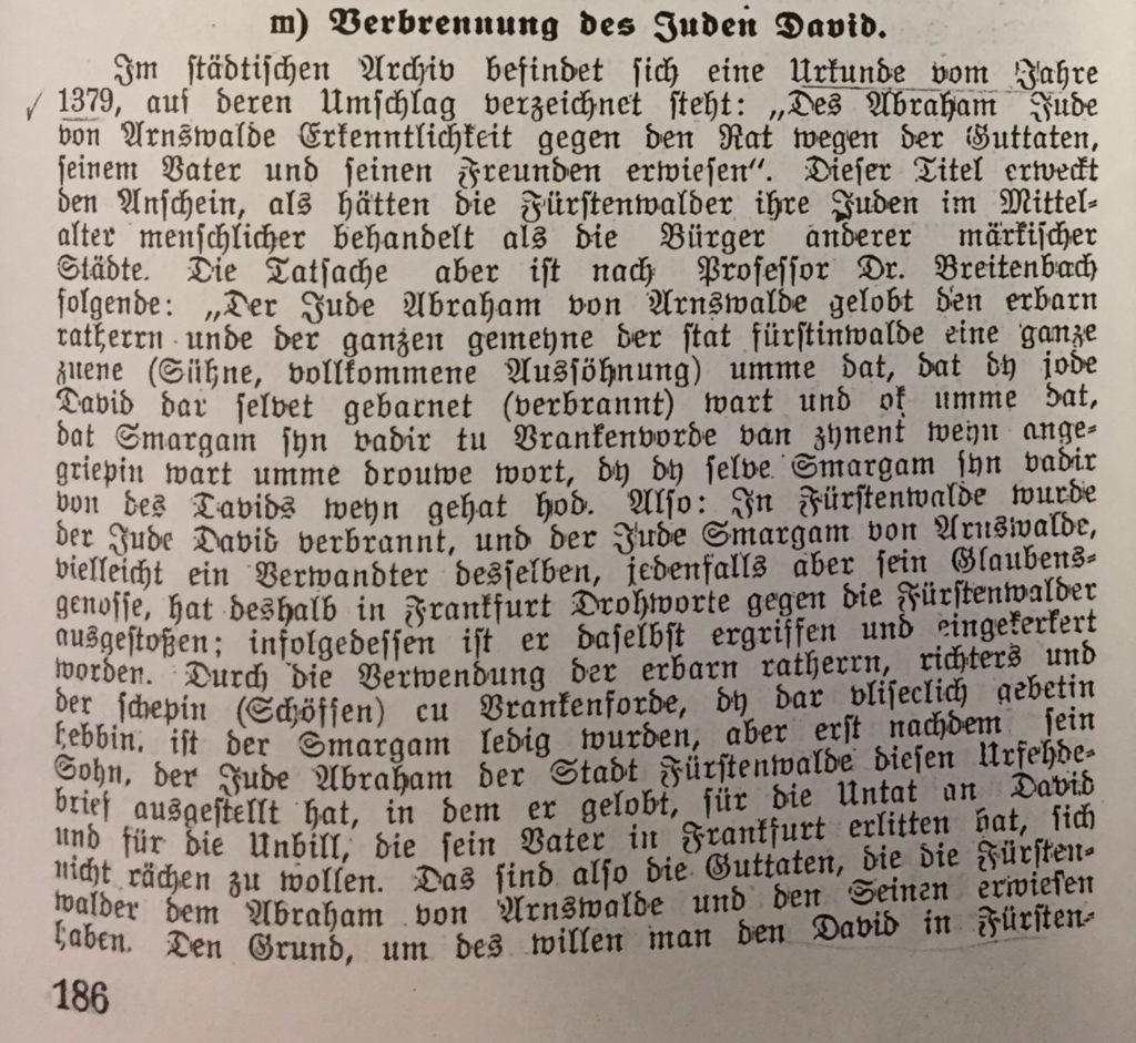 Emil Unger – erstmalige Erwähnung Jüdischen Lebens in Fürstenwalde